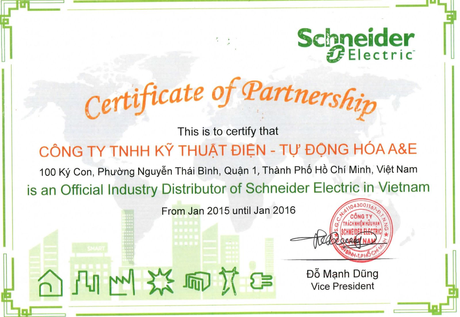 Chứng nhận Nhà phân phối ABB, Schneider 2015